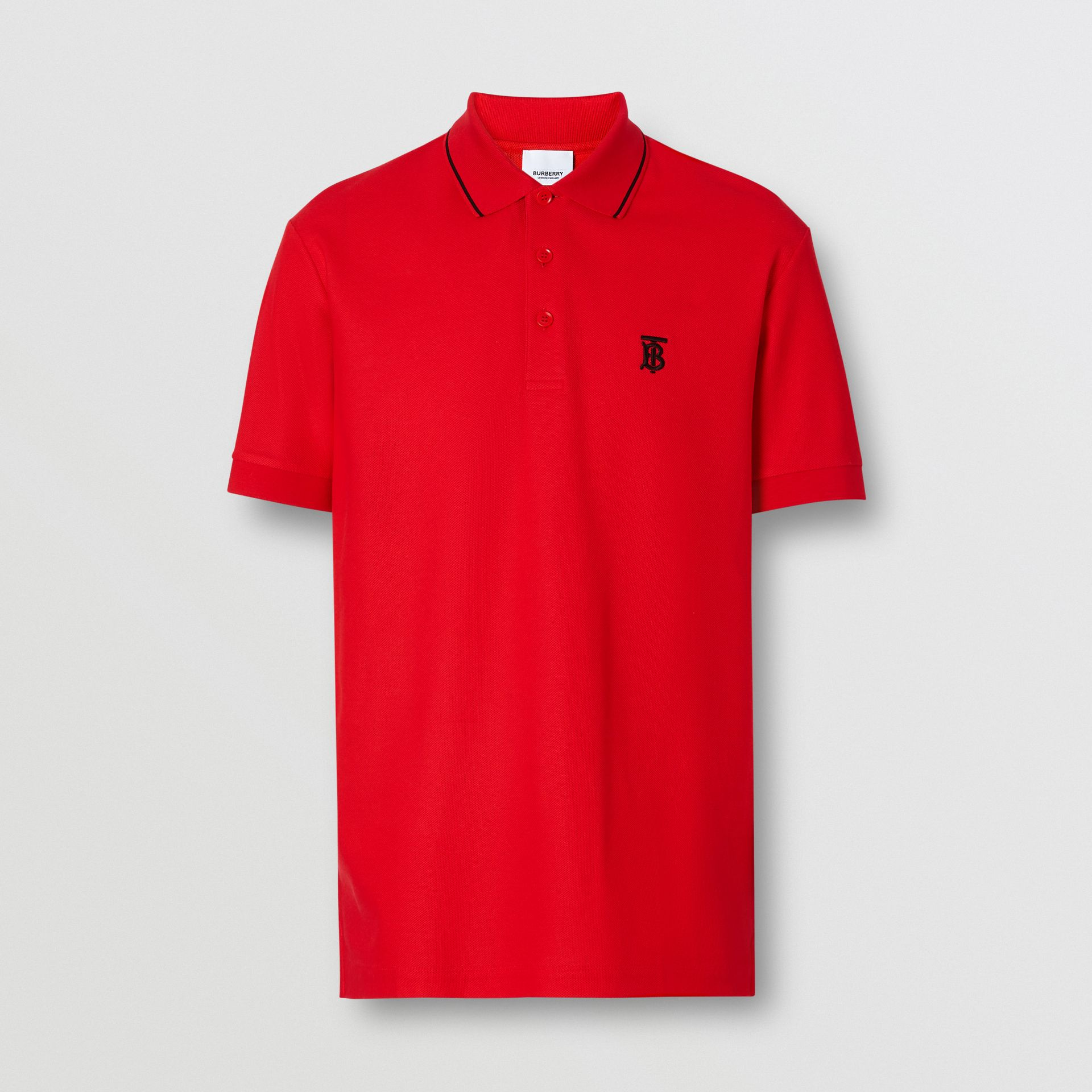 Icon Stripe Placket Cotton Piqué Polo Shirt in Bright Red - Men | Burberry United Kingdom - gallery image 3