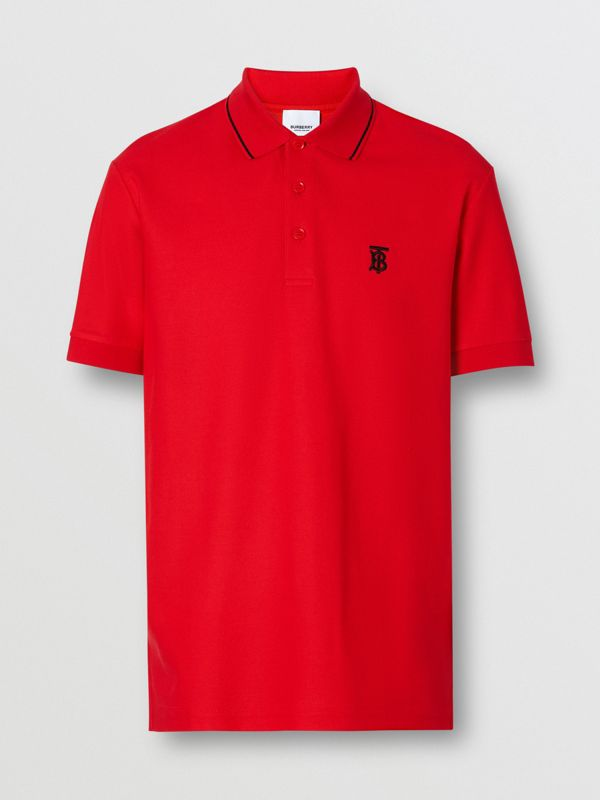 Icon Stripe Placket Cotton Piqué Polo Shirt in Bright Red - Men | Burberry United Kingdom - cell image 3