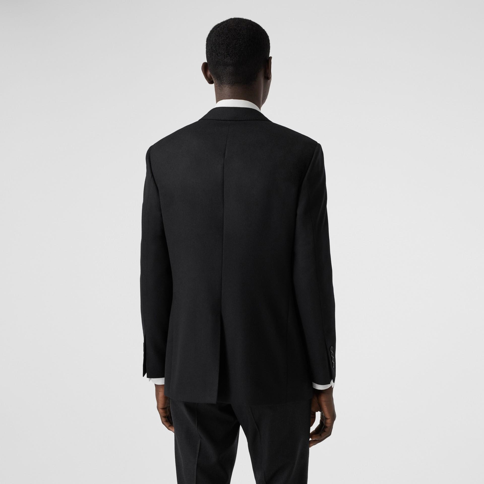 Slim Fit Monogram Motif Wool Flannel Tailored Jacket in Black - Men | Burberry - gallery image 2