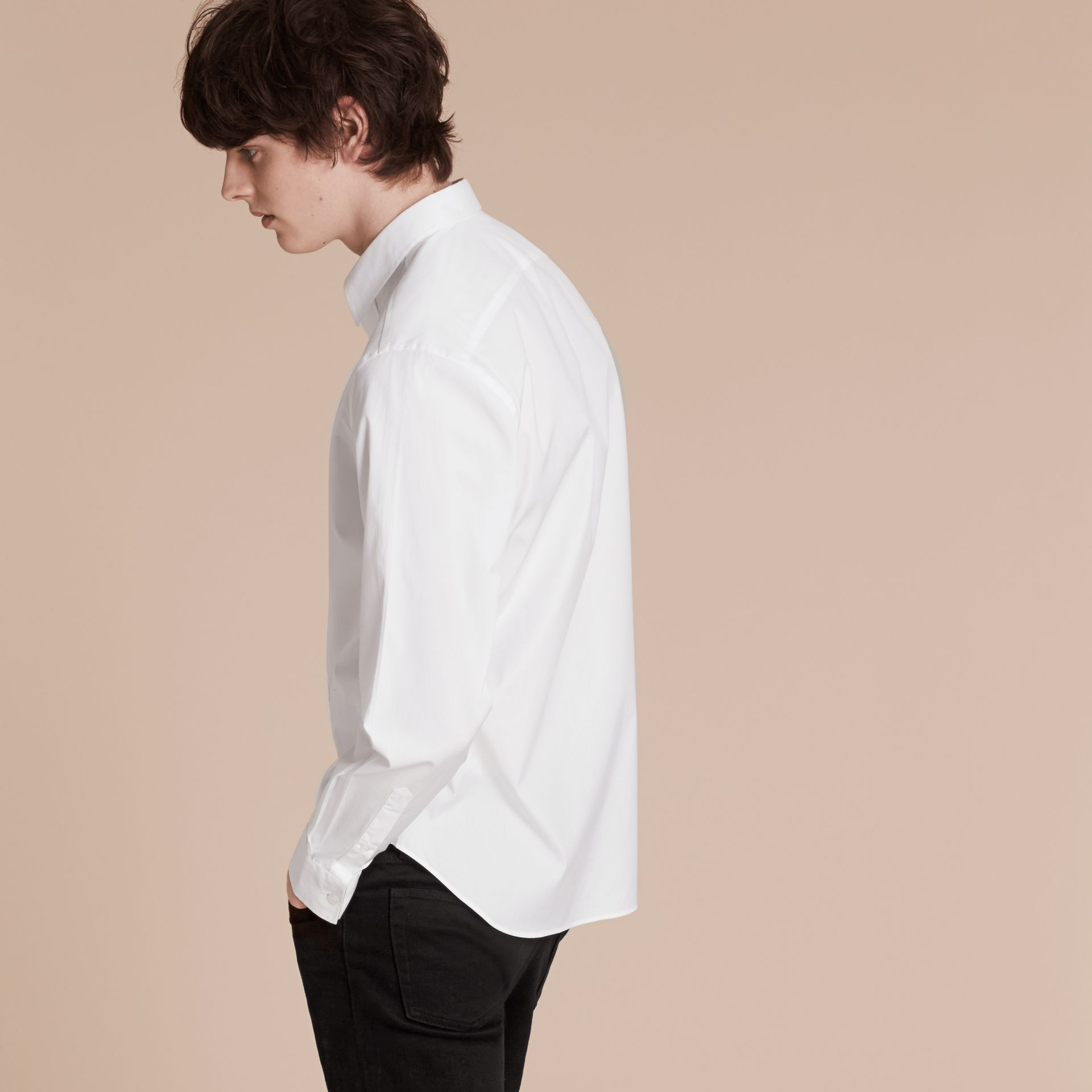 White Stretch Cotton Poplin Shirt - gallery image 3