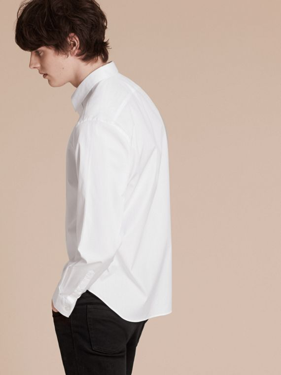 White Stretch Cotton Poplin Shirt - cell image 2