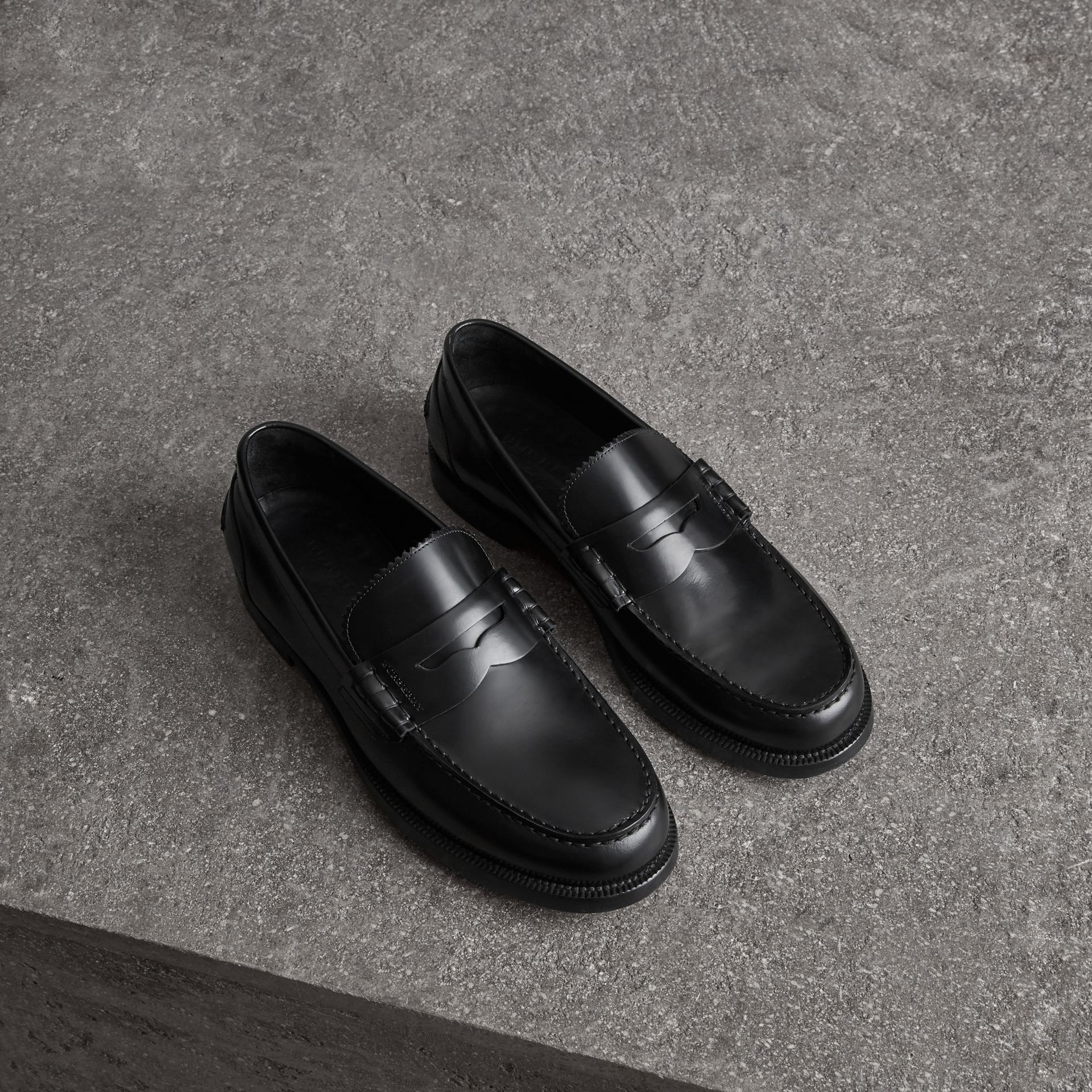 Leather Penny Loafers in Black - Men | Burberry - gallery image 0