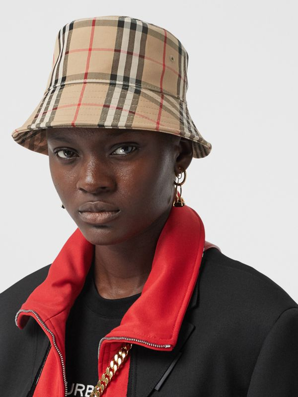 Vintage Check Cotton Blend Bucket Hat in Archive Beige | Burberry Australia - cell image 2