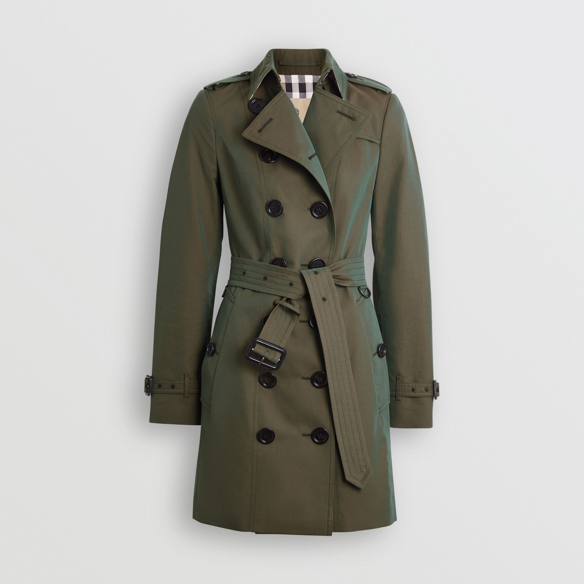 Sandringham Fit Cotton Gabardine Trench Coat in Dark Antique Green - Women | Burberry - gallery image 3