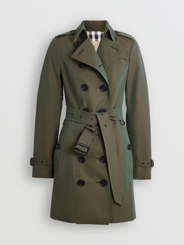 Sandringham Fit Cotton Gabardine Trench Coat in Dark Antique Green - Women | Burberry - cell image 3