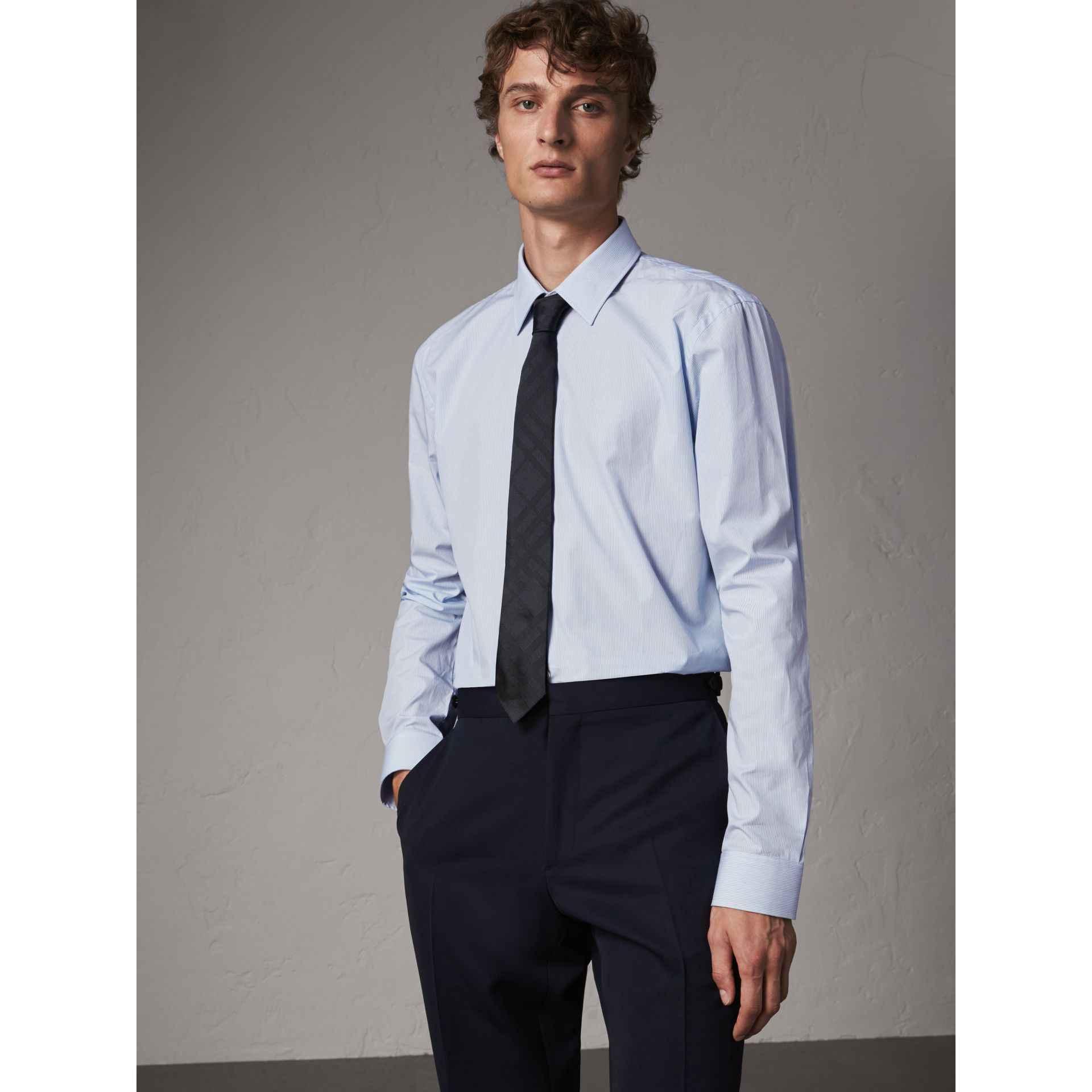 Modern Fit Striped Cotton Poplin Shirt in City Blue - Men | Burberry United Kingdom - gallery image 1