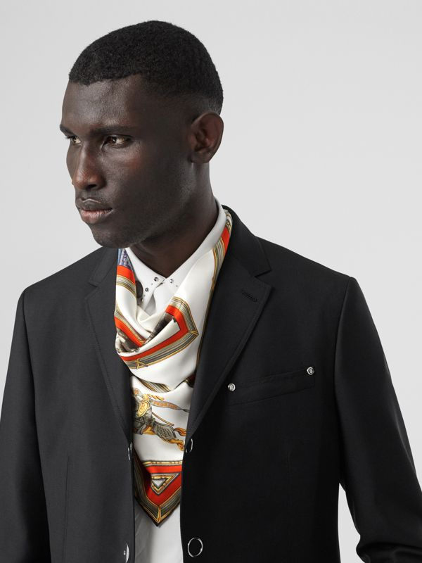 Archive Scarf Print Silk Square Scarf in Vermillion | Burberry Canada - cell image 3