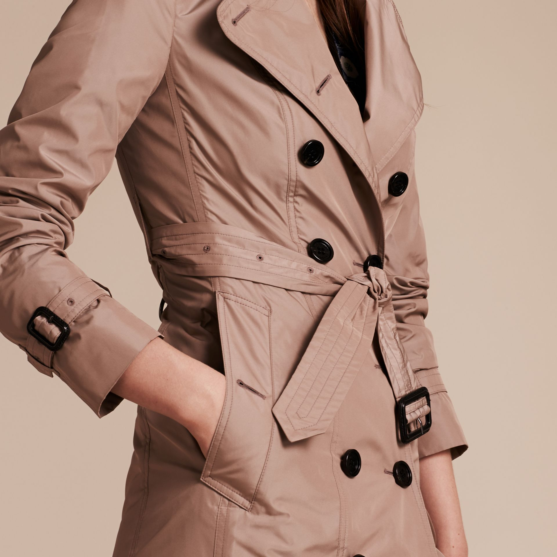 Nude Long Technical Trench Coat - gallery image 6