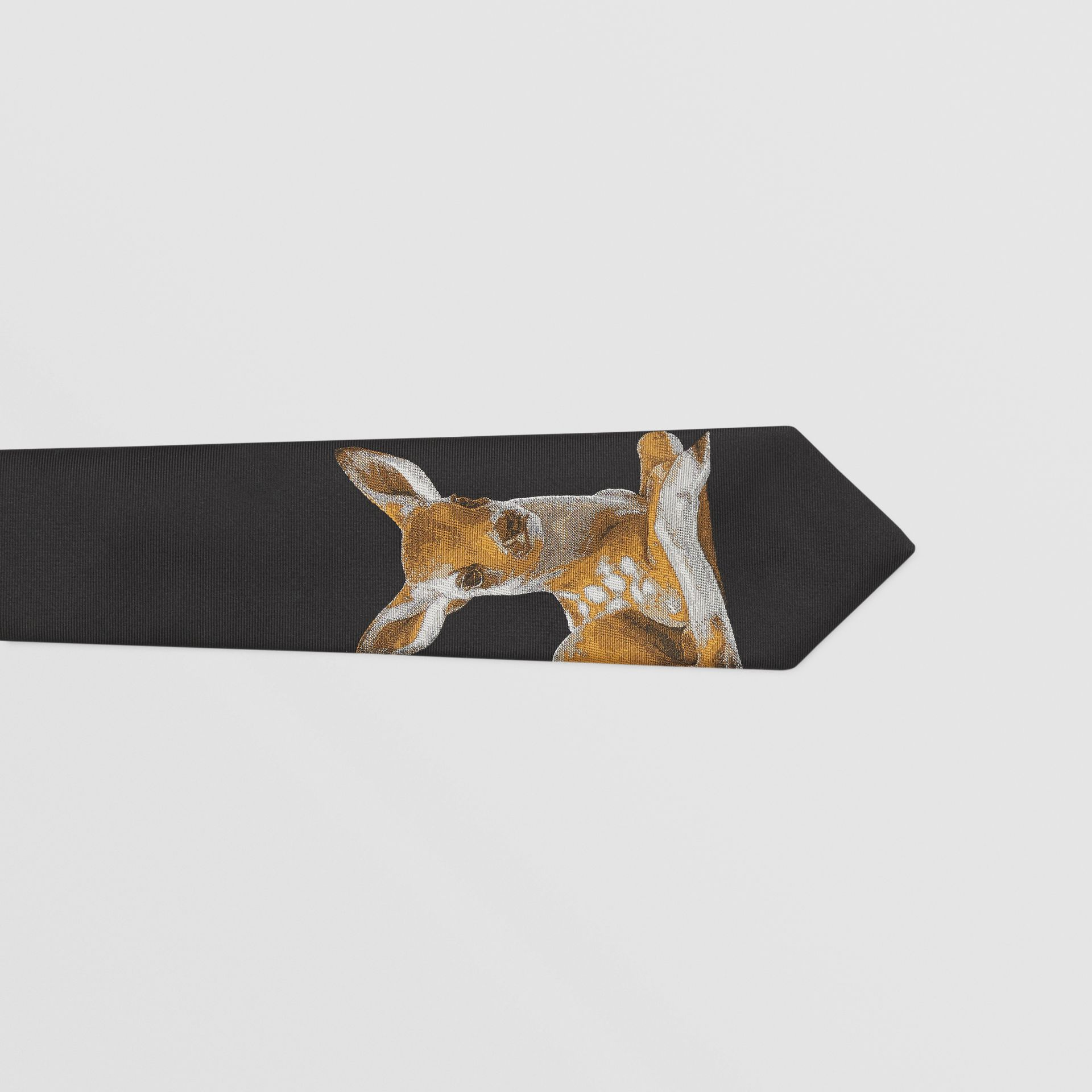 Classic Cut Deer Motif Silk Jacquard Tie in Black - Men | Burberry United States - gallery image 1