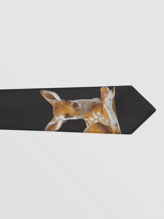 Classic Cut Deer Motif Silk Jacquard Tie in Black - Men | Burberry United States - cell image 1