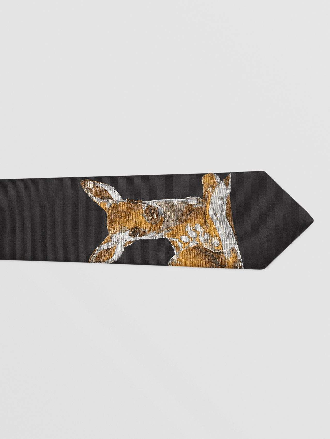Classic Cut Deer Motif Silk Jacquard Tie in Black