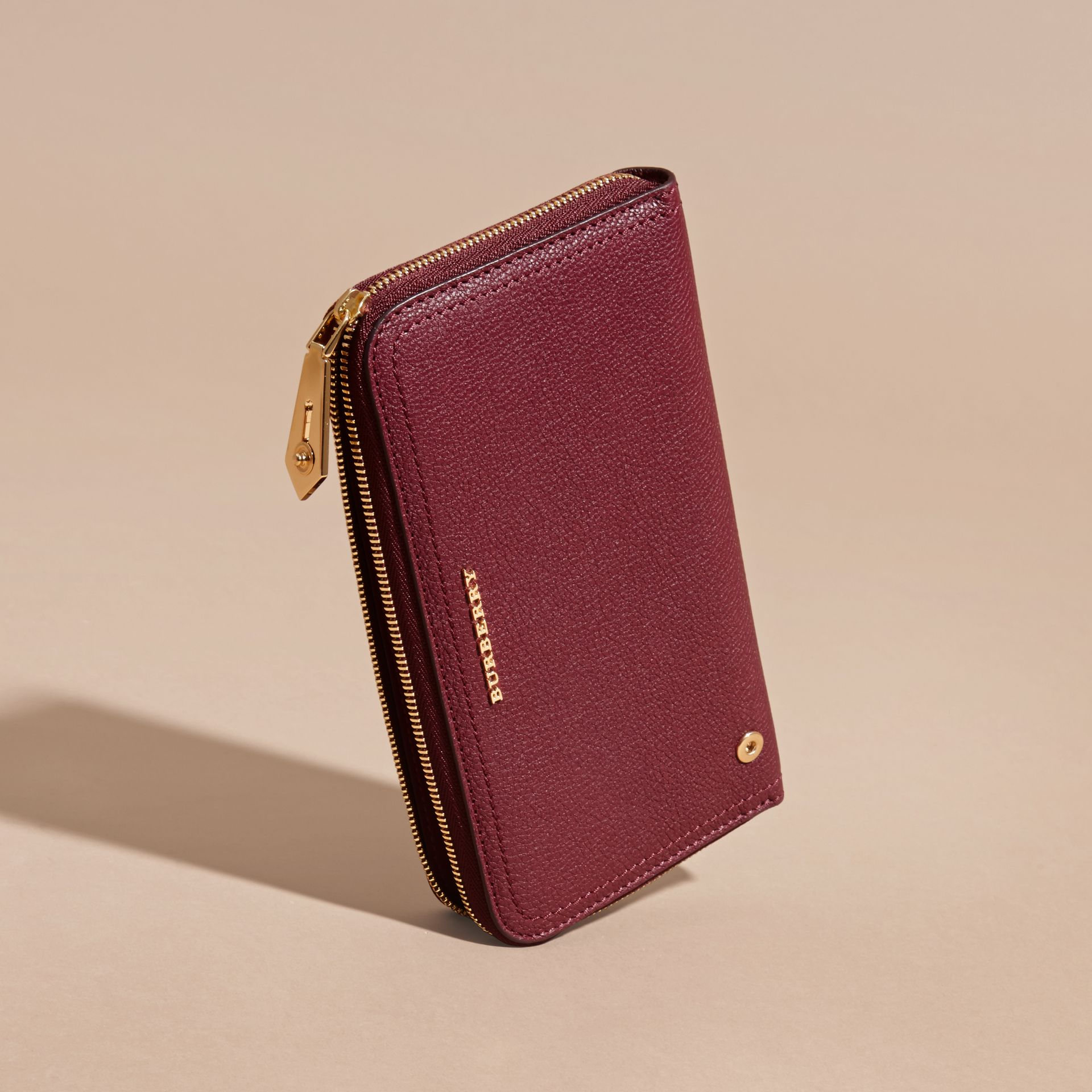 Dark plum Grainy Leather Ziparound Wallet Dark Plum - gallery image 5