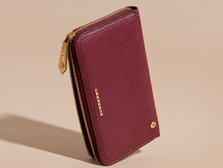 Dark plum Grainy Leather Ziparound Wallet Dark Plum - cell image 4