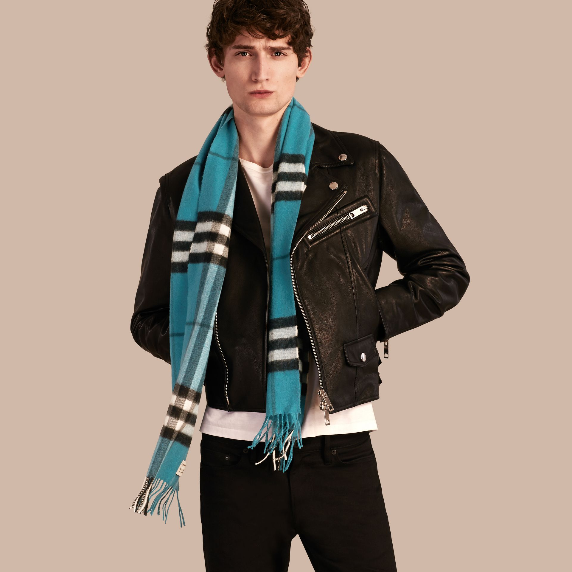 Dark aqua The Classic Cashmere Scarf in Check Dark Aqua - gallery image 4