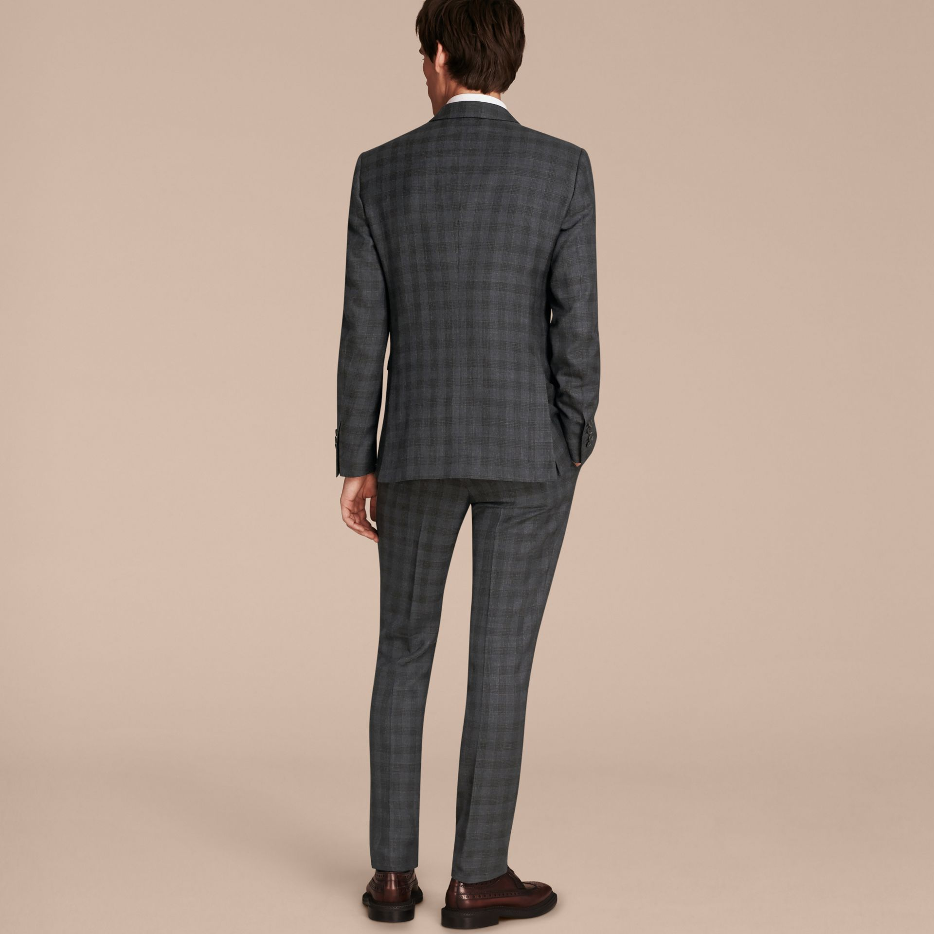 Charcoal Slim Fit Wool Silk Linen Three-piece Part-canvas Suit - gallery image 3
