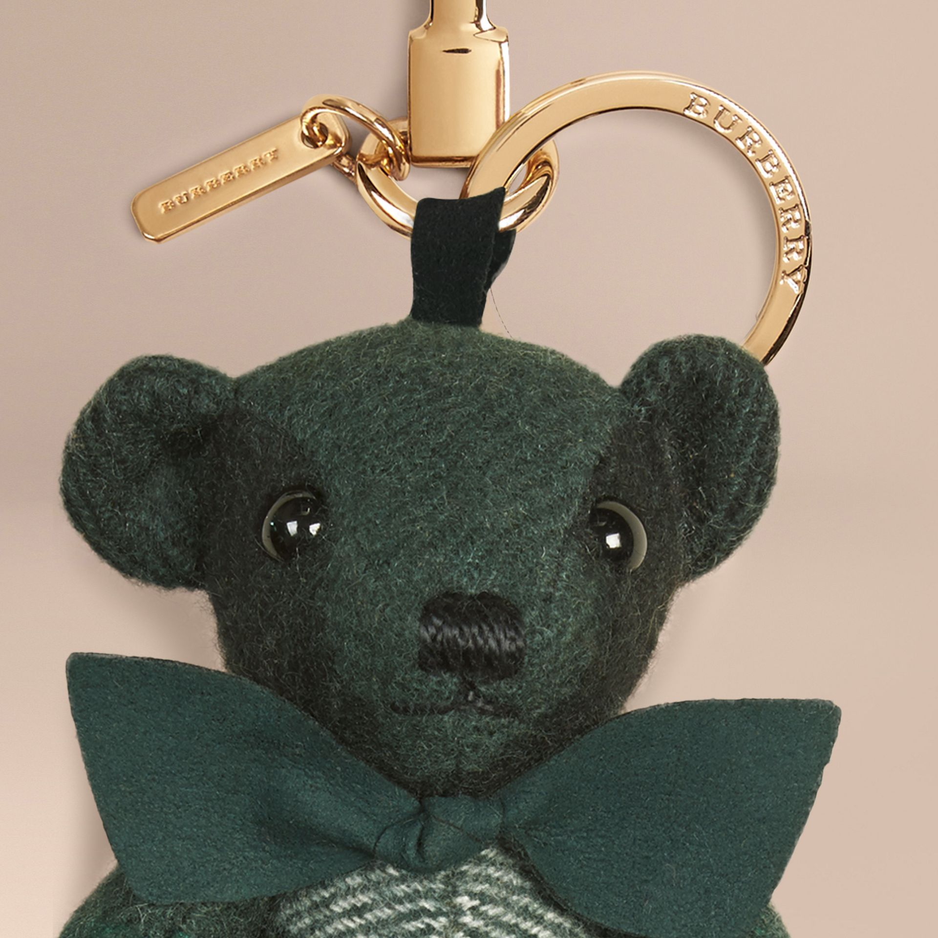 Thomas Bear Charm in Check Cashmere in Dark Forest Green - Men | Burberry Australia - gallery image 1