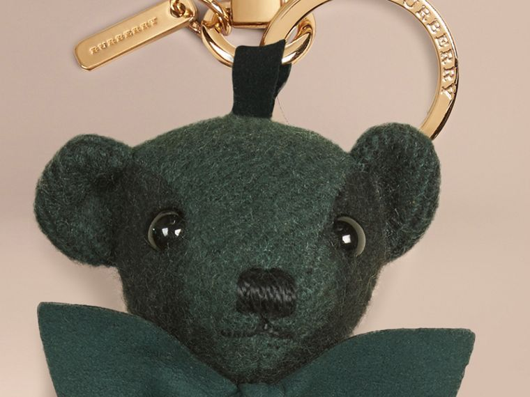 Thomas Bear Charm in Check Cashmere in Dark Forest Green - Men | Burberry Australia - cell image 1