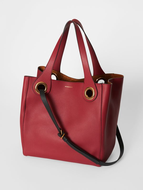 The Medium Leather Grommet Detail Tote in Crimson - Women | Burberry - cell image 2