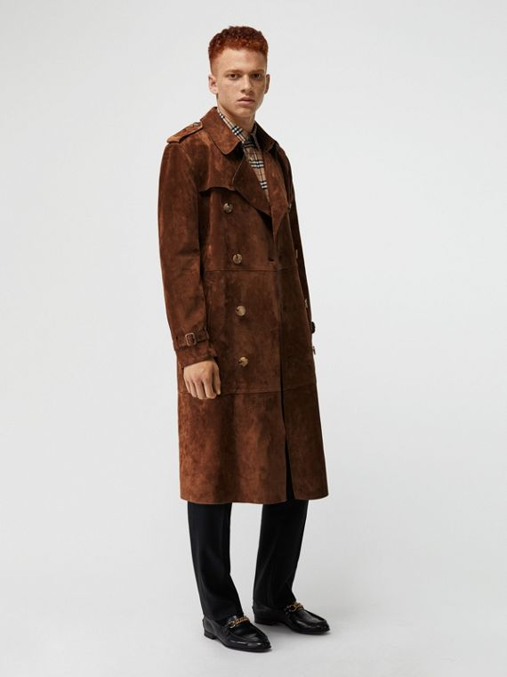 Trench en cuir velours (Marron Sépia)