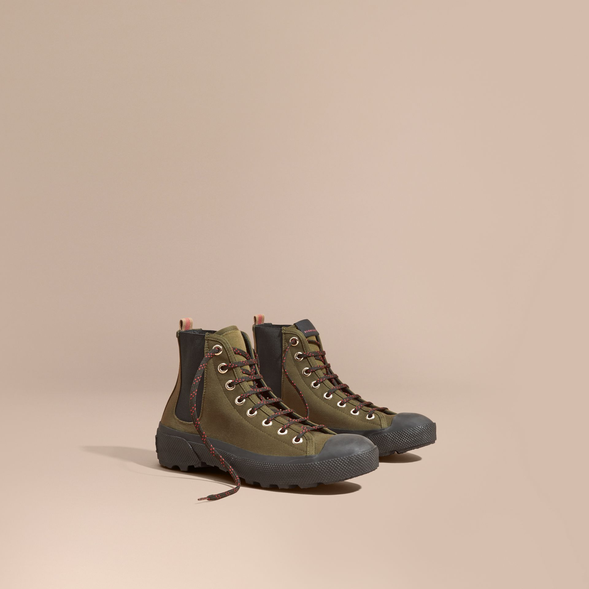 Khaki melange Technical Cotton and Vulcanised Rubber Boots - gallery image 1