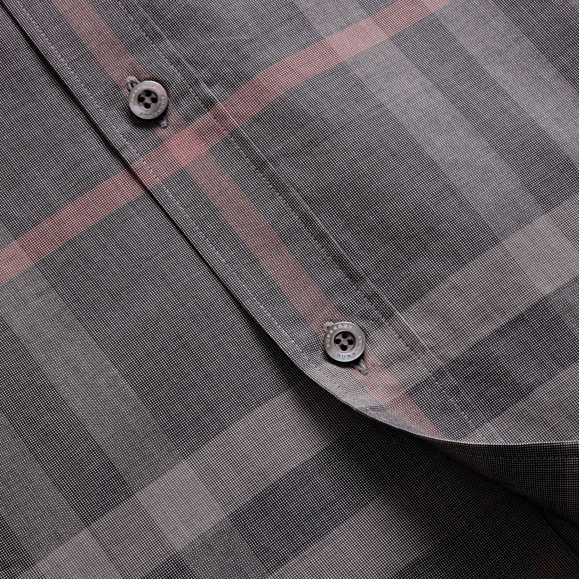 Check Cotton Oxford Shirt in Dark Charcoal - gallery image 2