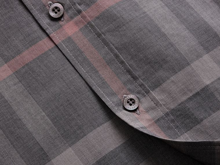 Check Cotton Oxford Shirt in Dark Charcoal - cell image 1
