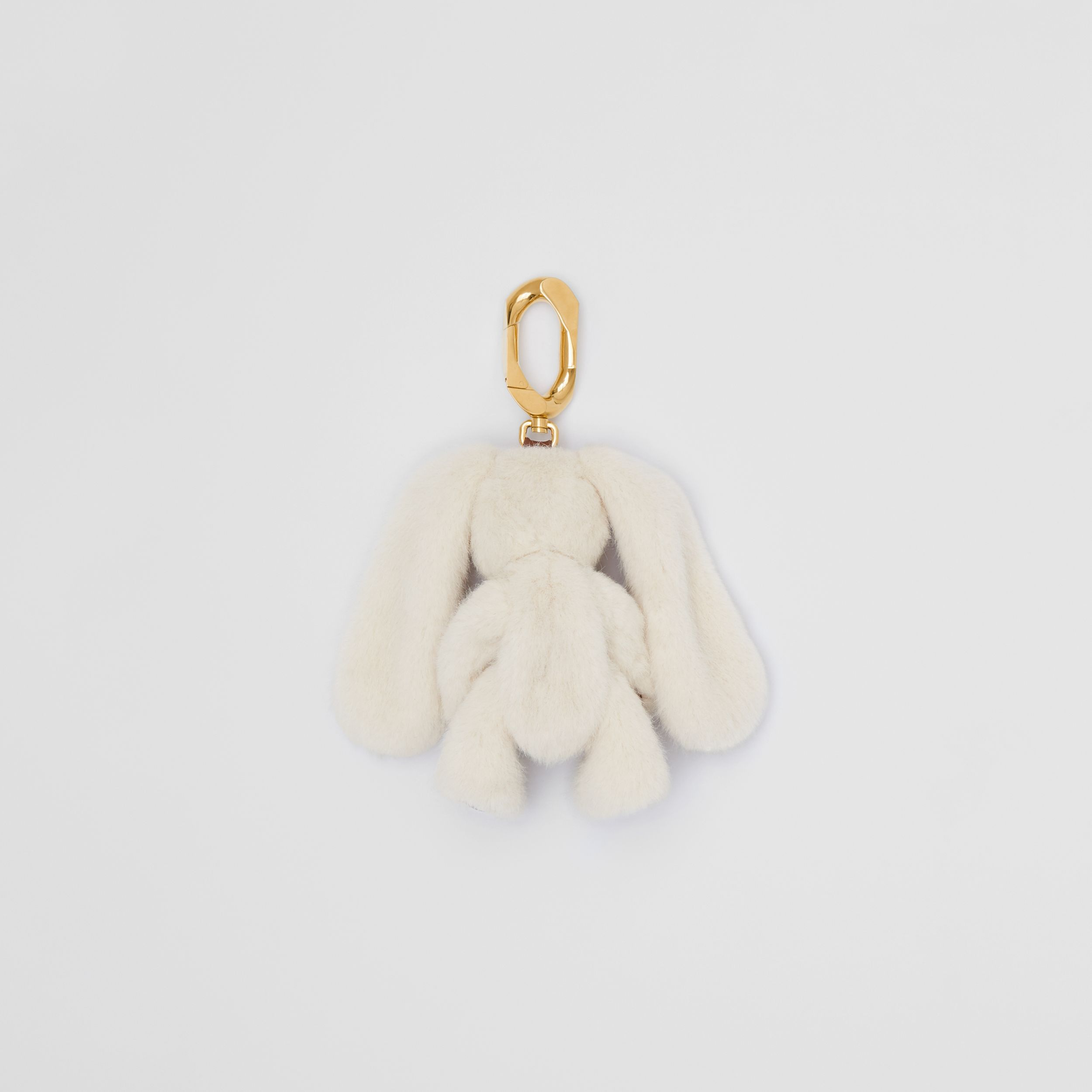 Embellished Faux Fur and Leather Rabbit Charm in Buttermilk | Burberry - 3
