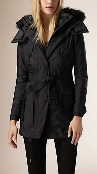 Parka with Fur-Trim Hood and Down-filled Warmer