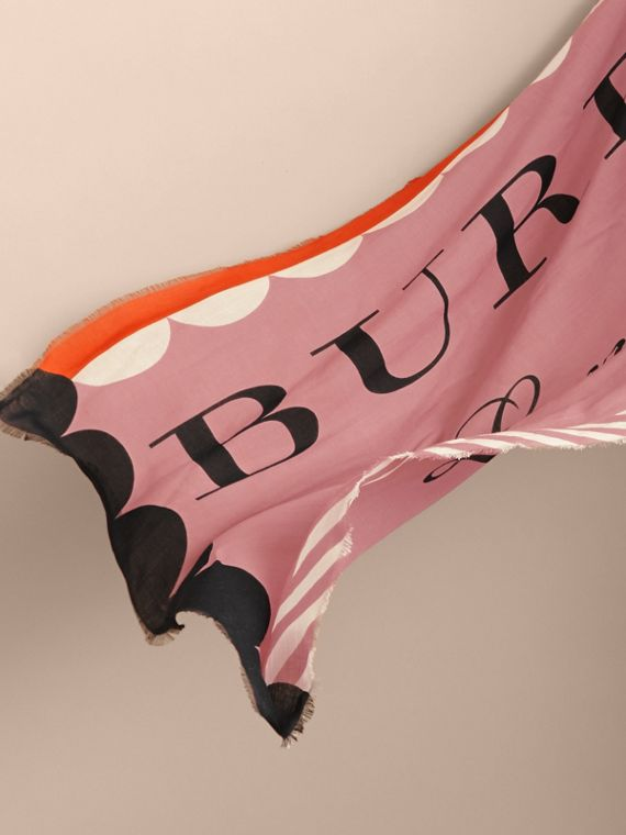 Scallop and Stripe Print Modal Wool Scarf in Dusty Pink - Women | Burberry - cell image 3