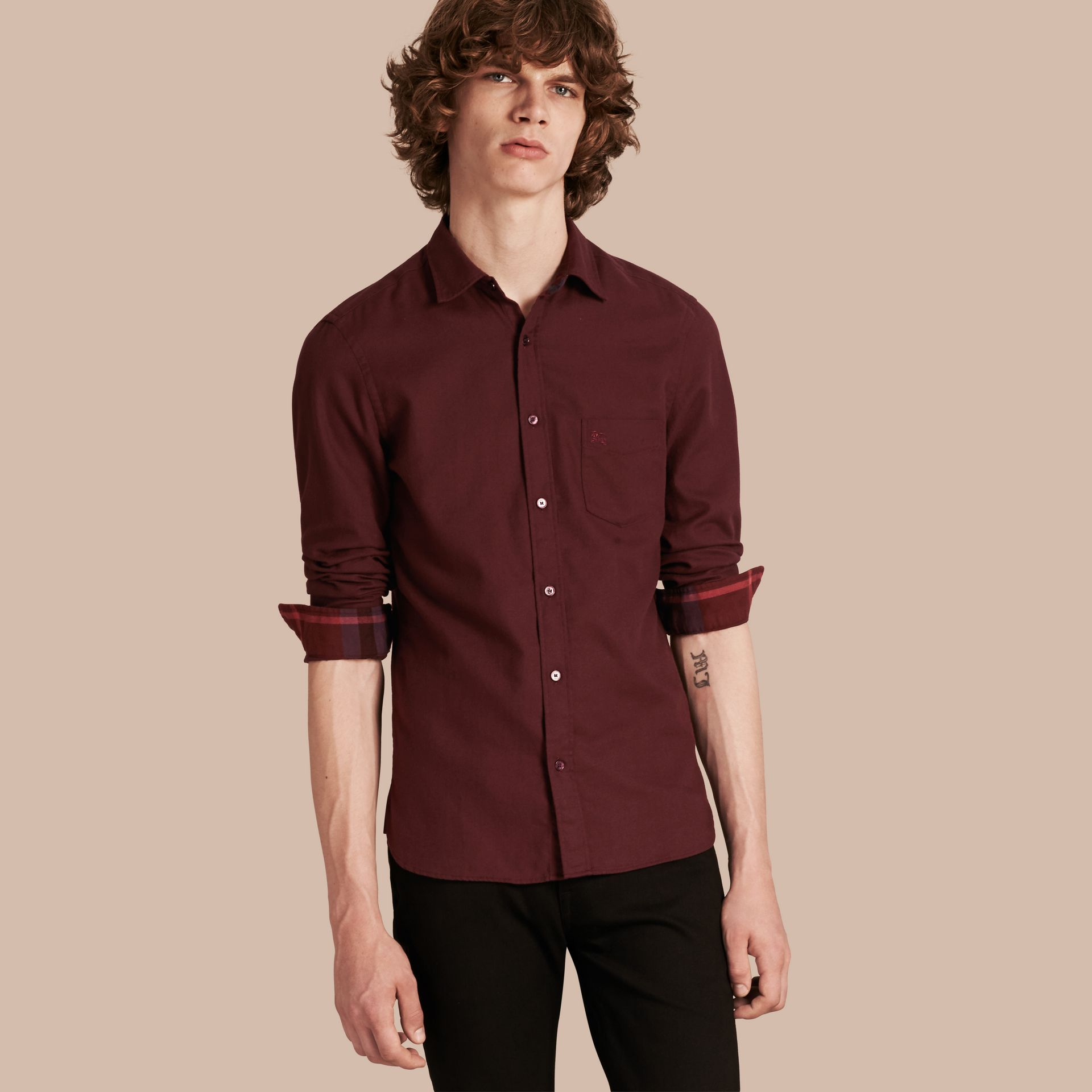 Dark elderberry Check Detail Cotton Flannel Shirt Dark Elderberry - gallery image 1