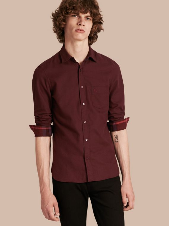 Check Detail Cotton Flannel Shirt Dark Elderberry