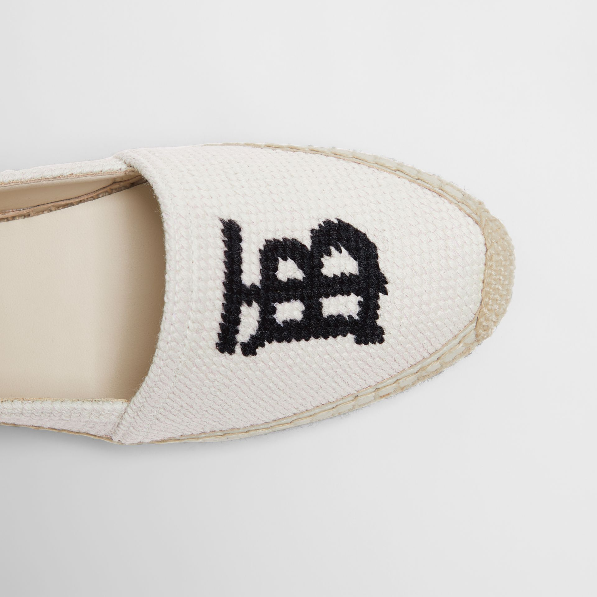 Monogram Motif Cotton and Leather Espadrilles in Ecru/black - Women | Burberry United Kingdom - gallery image 1