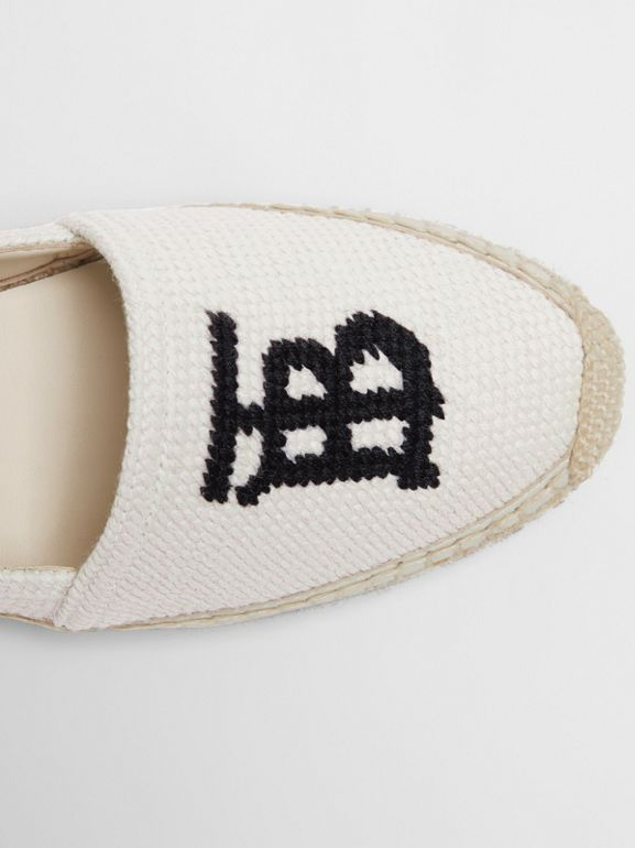 Monogram Motif Cotton and Leather Espadrilles in Ecru/black - Women | Burberry United Kingdom - cell image 1