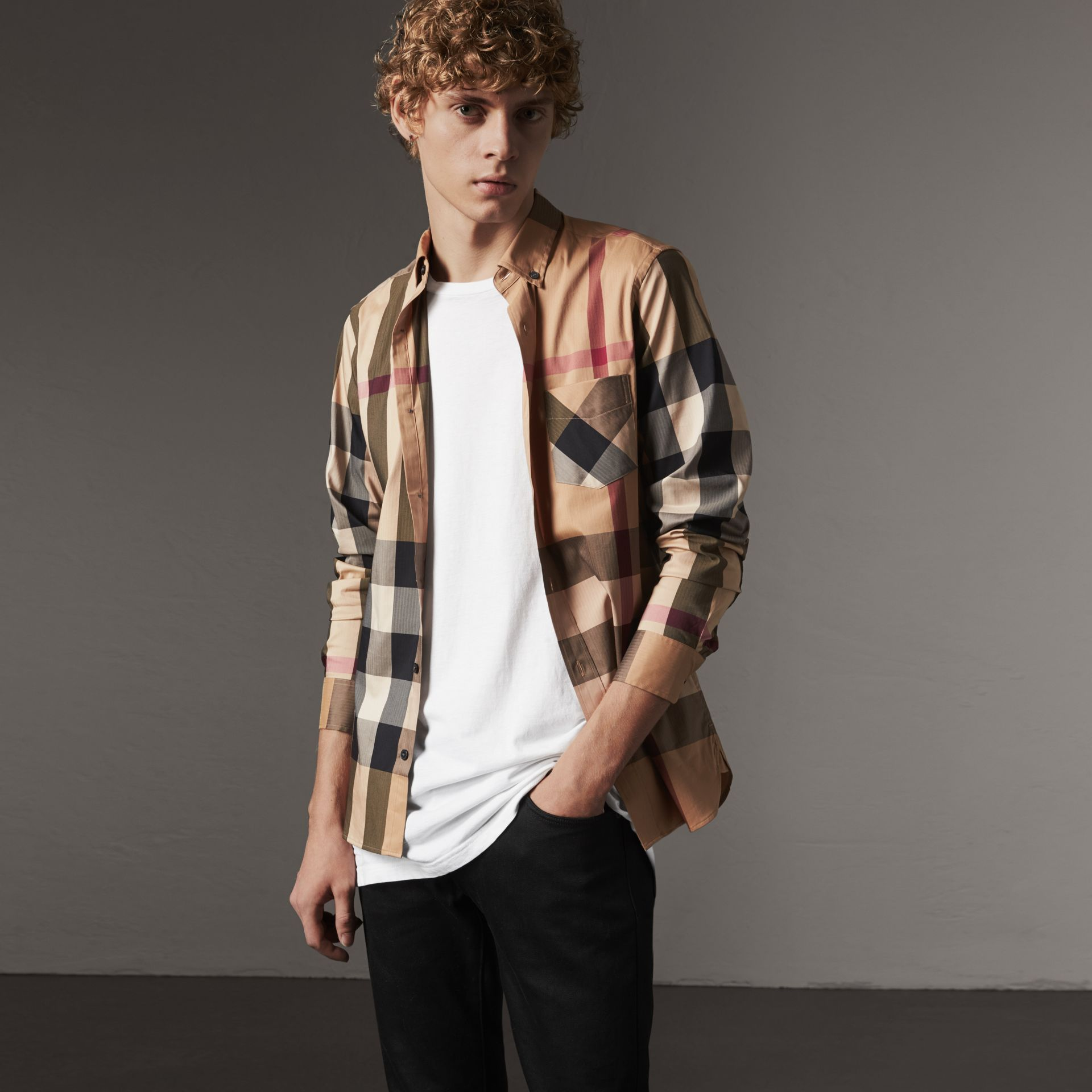 Button-down Collar Check Stretch Cotton Blend Shirt in Camel - Men | Burberry Canada - gallery image 0