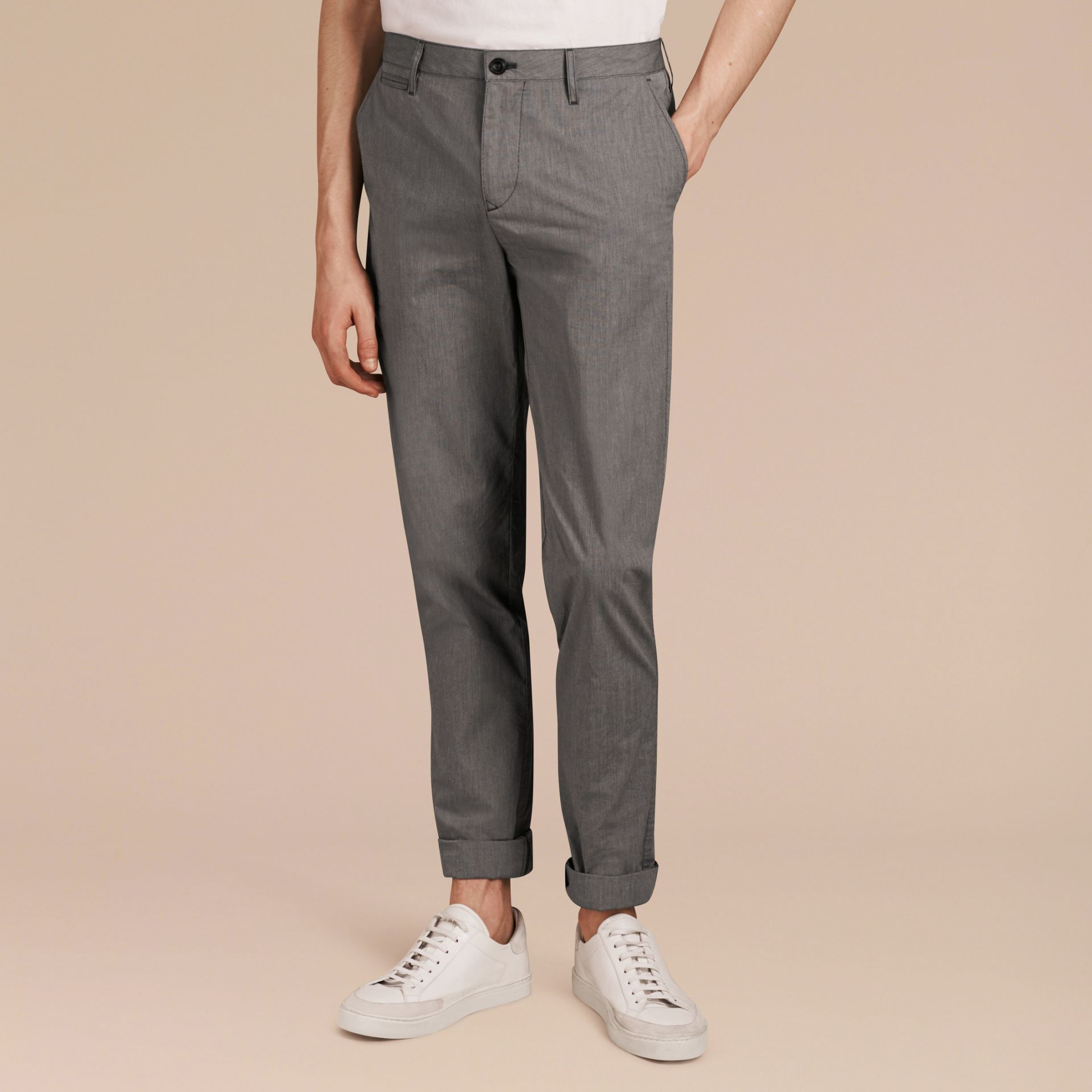 Dark grey Cotton Tapered Trousers - gallery image 6