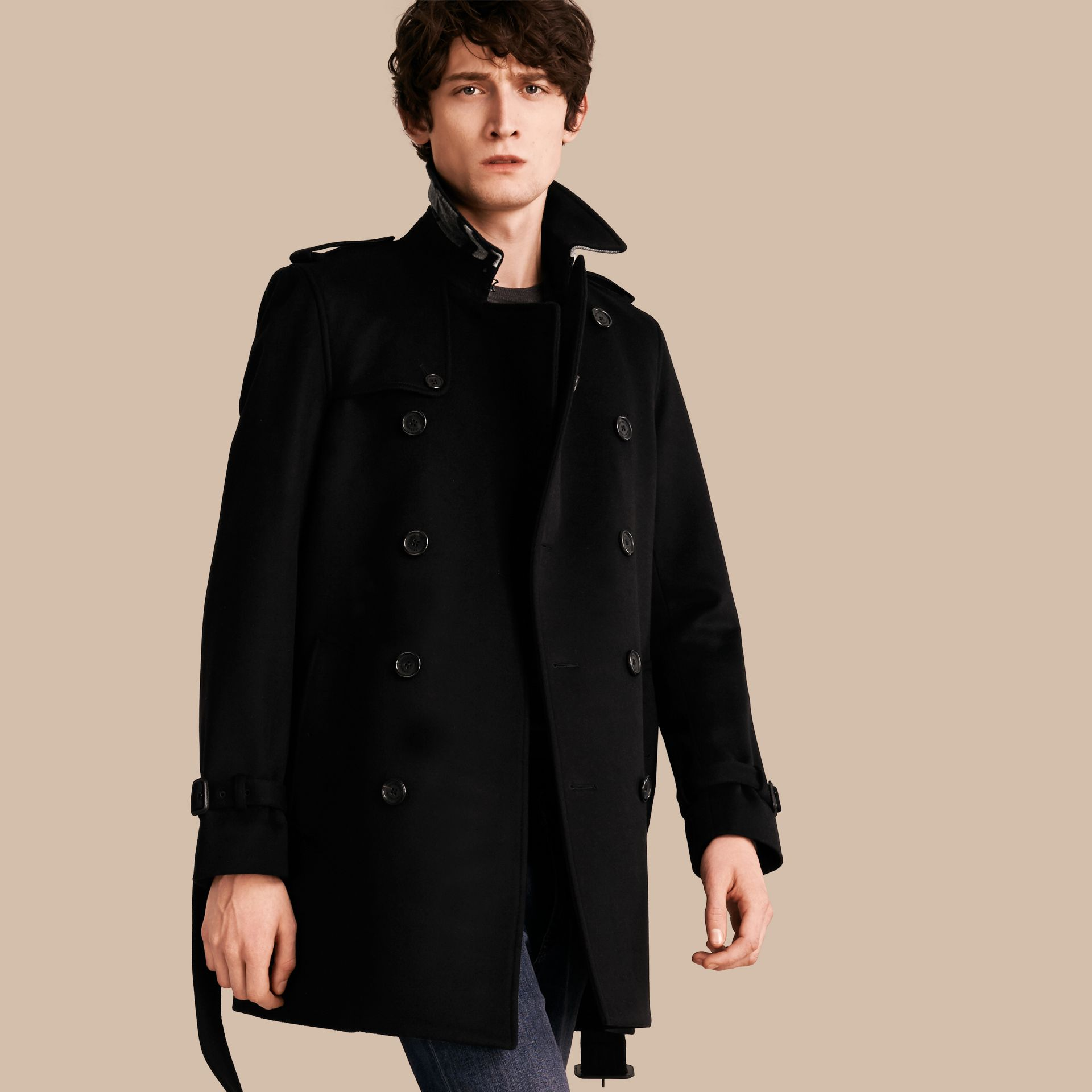 Black Wool Cashmere Trench Coat Black - gallery image 1