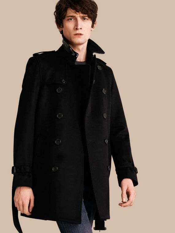Wool Cashmere Trench Coat Black