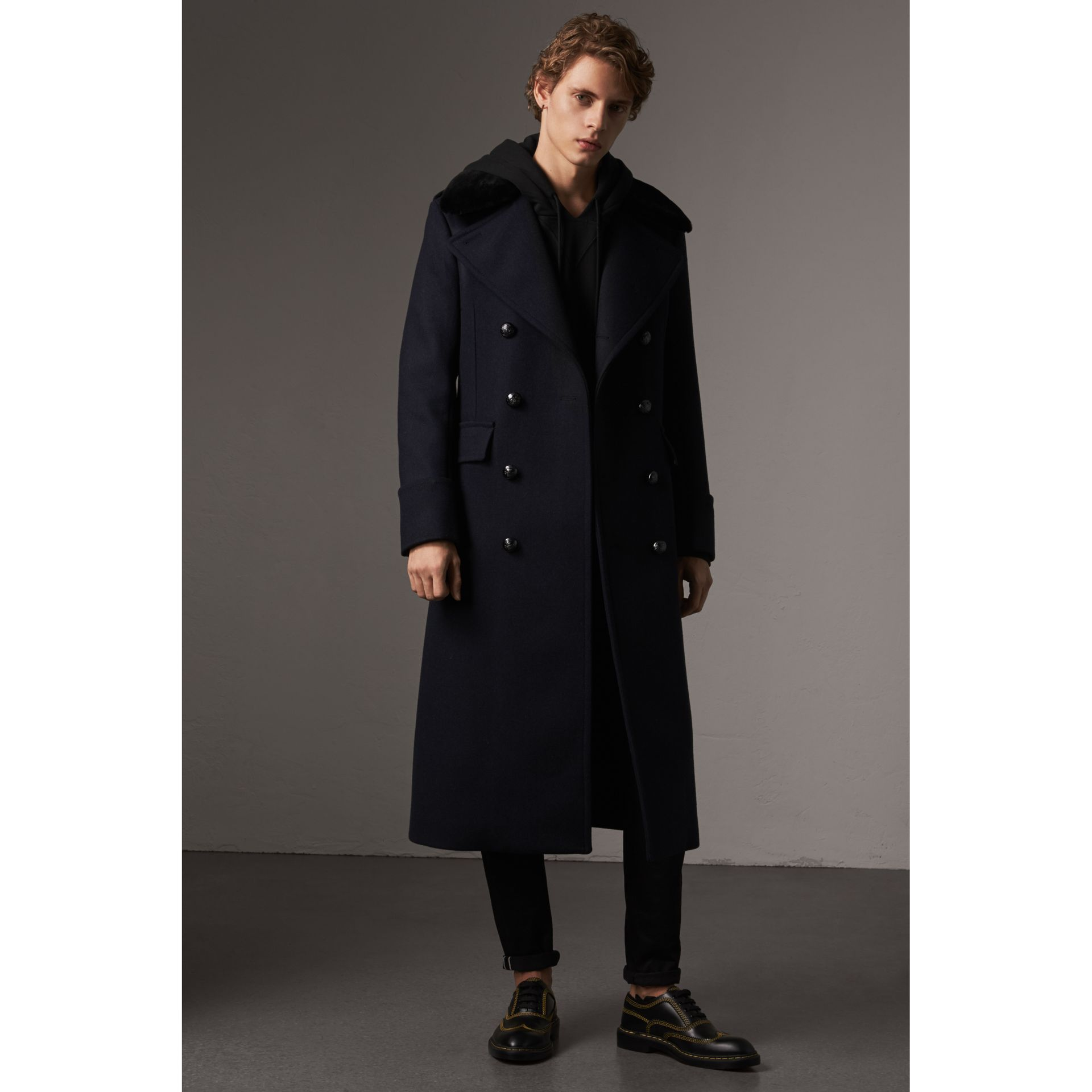 Detachable Mink Collar Wool Greatcoat in Navy - Men | Burberry Singapore - gallery image 1