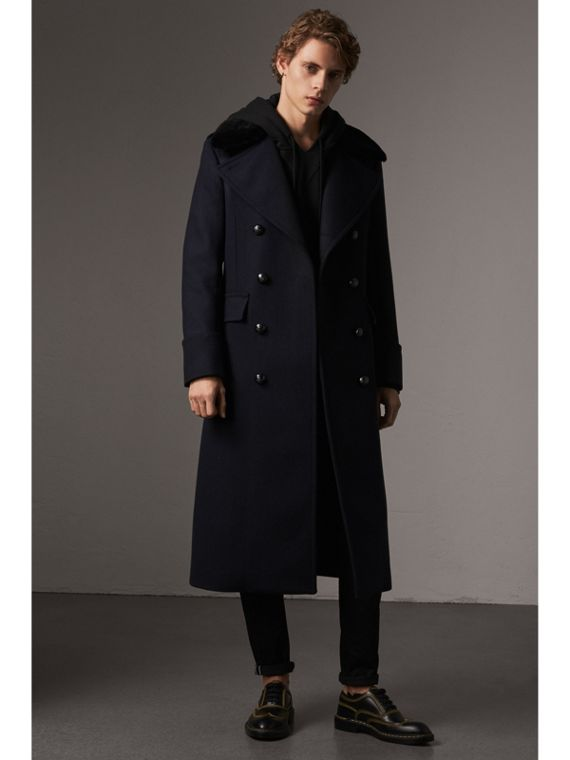 Detachable Mink Collar Wool Greatcoat in Navy