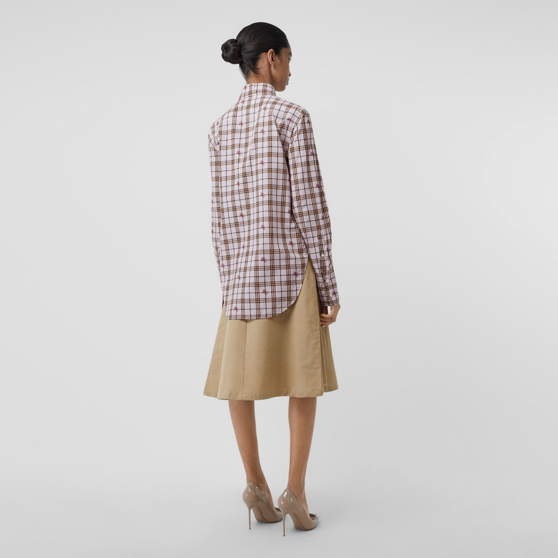 Fil Coupé Check Cotton Shirt in Alabaster Pink - Women | Burberry - gallery image 2
