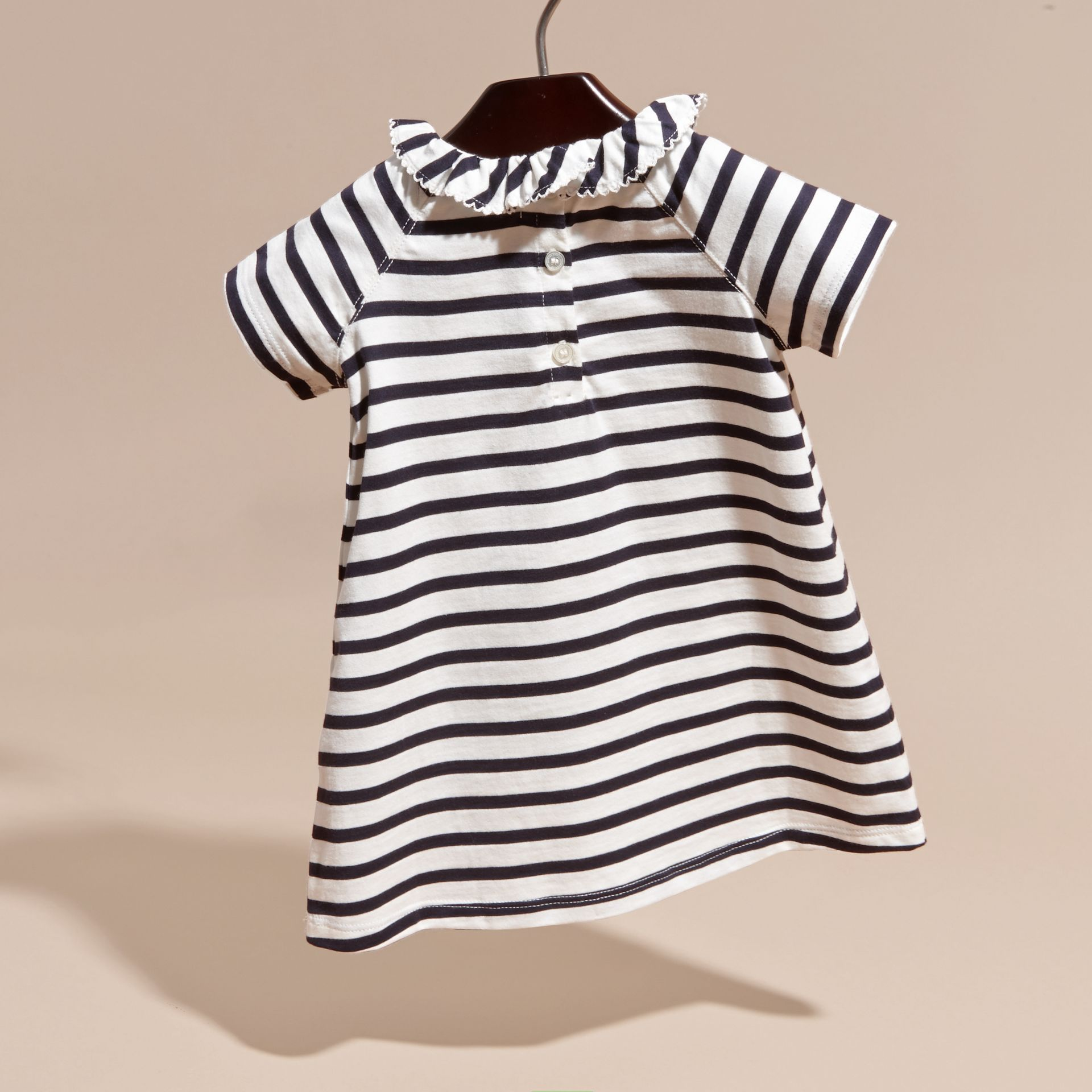 Navy/white Flower Burst Motif Striped Cotton Dress and Bloomers - gallery image 4