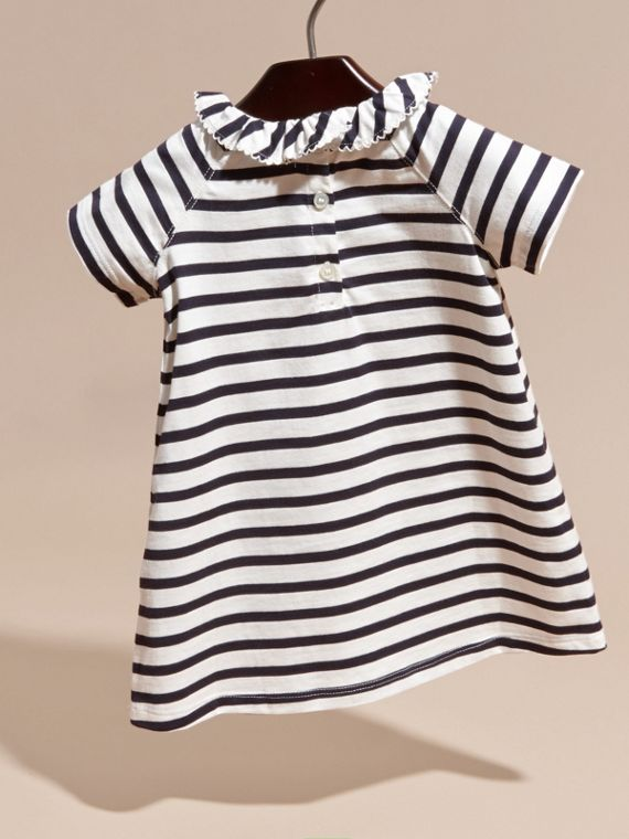Navy/white Flower Burst Motif Striped Cotton Dress and Bloomers - cell image 3