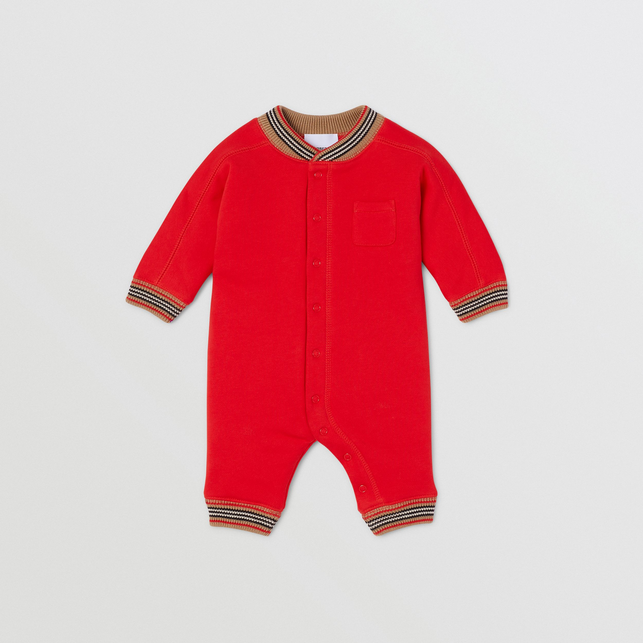 Icon Stripe Trim Cotton Jumpsuit - Children | Burberry - 1