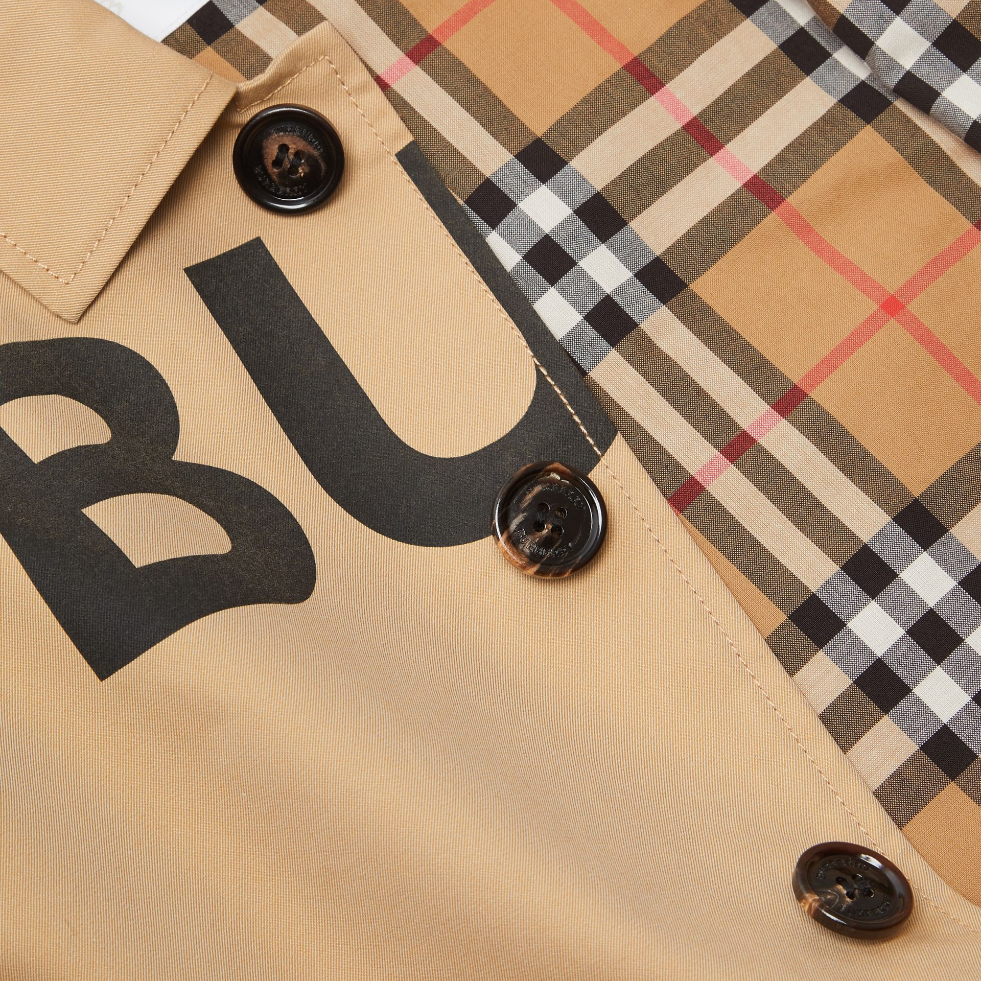 Horseferry Print Cotton Gabardine Car Coat in Honey | Burberry Singapore - gallery image 7
