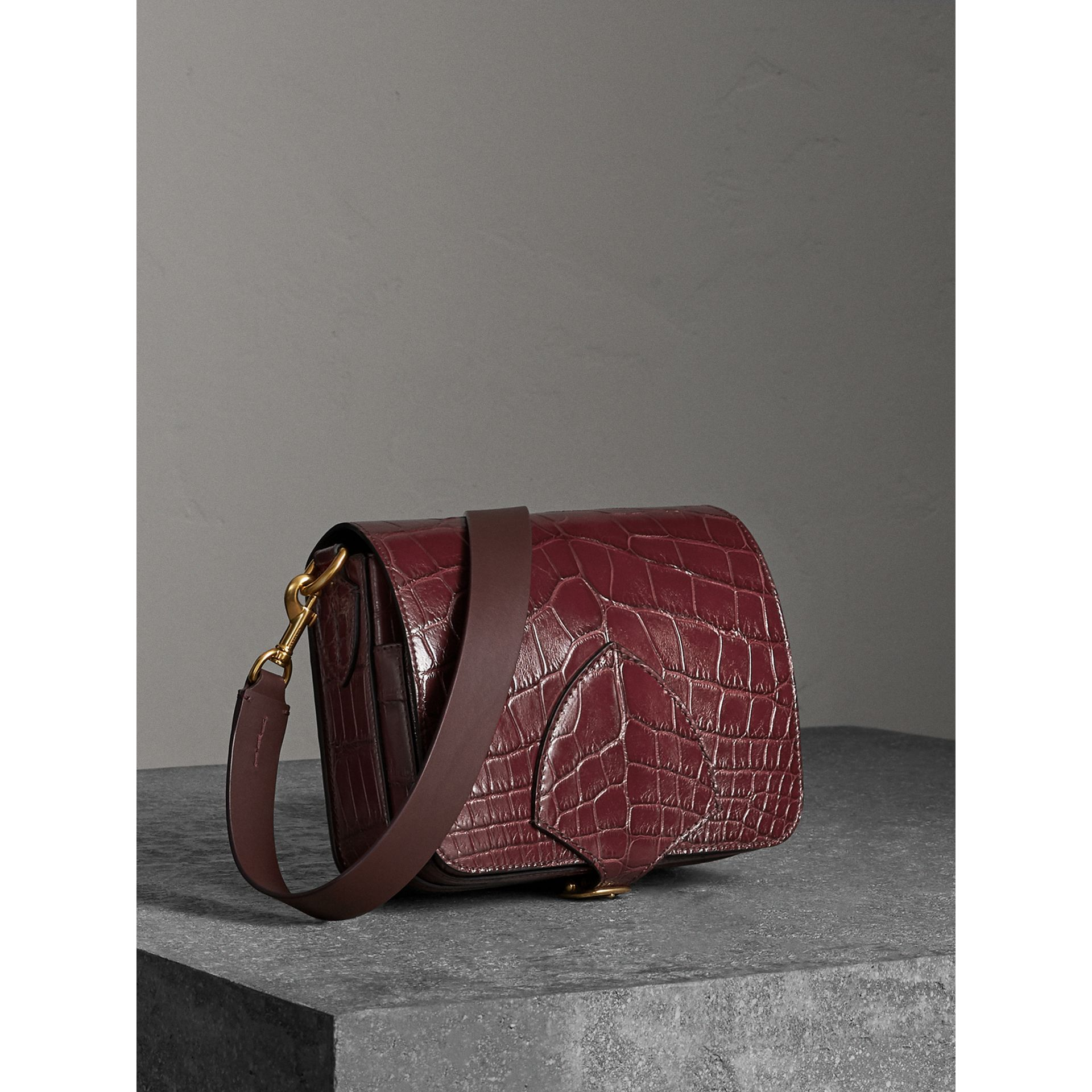 The Square Satchel in Alligator in Dark Plum - Women | Burberry - gallery image 7