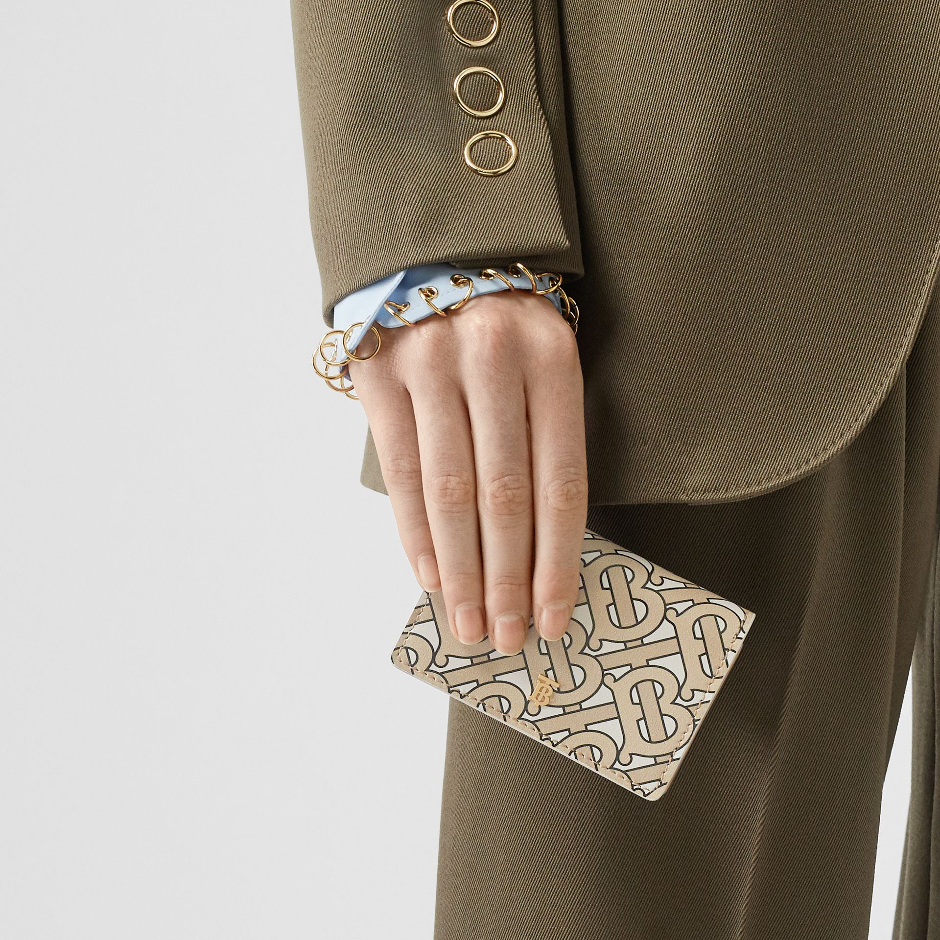Monogram Print Card Case with Detachable Strap in Beige - Women | Burberry United States - gallery image 2