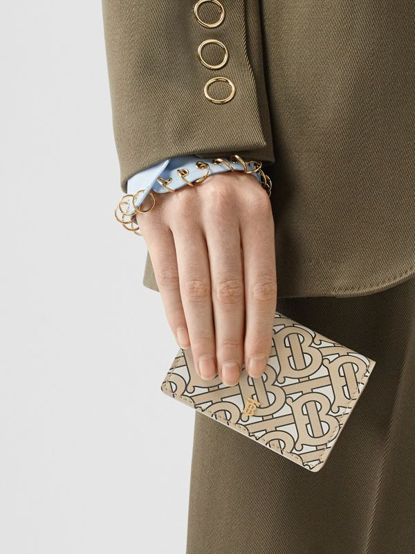 Monogram Print Card Case with Detachable Strap in Beige - Women | Burberry - cell image 2
