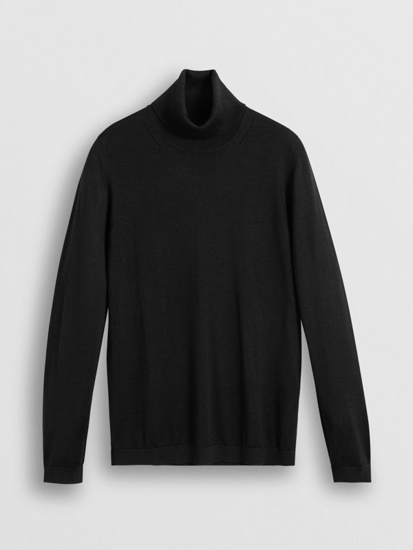 Silk Cashmere Roll-neck Sweater in Black - Women | Burberry Canada - cell image 3