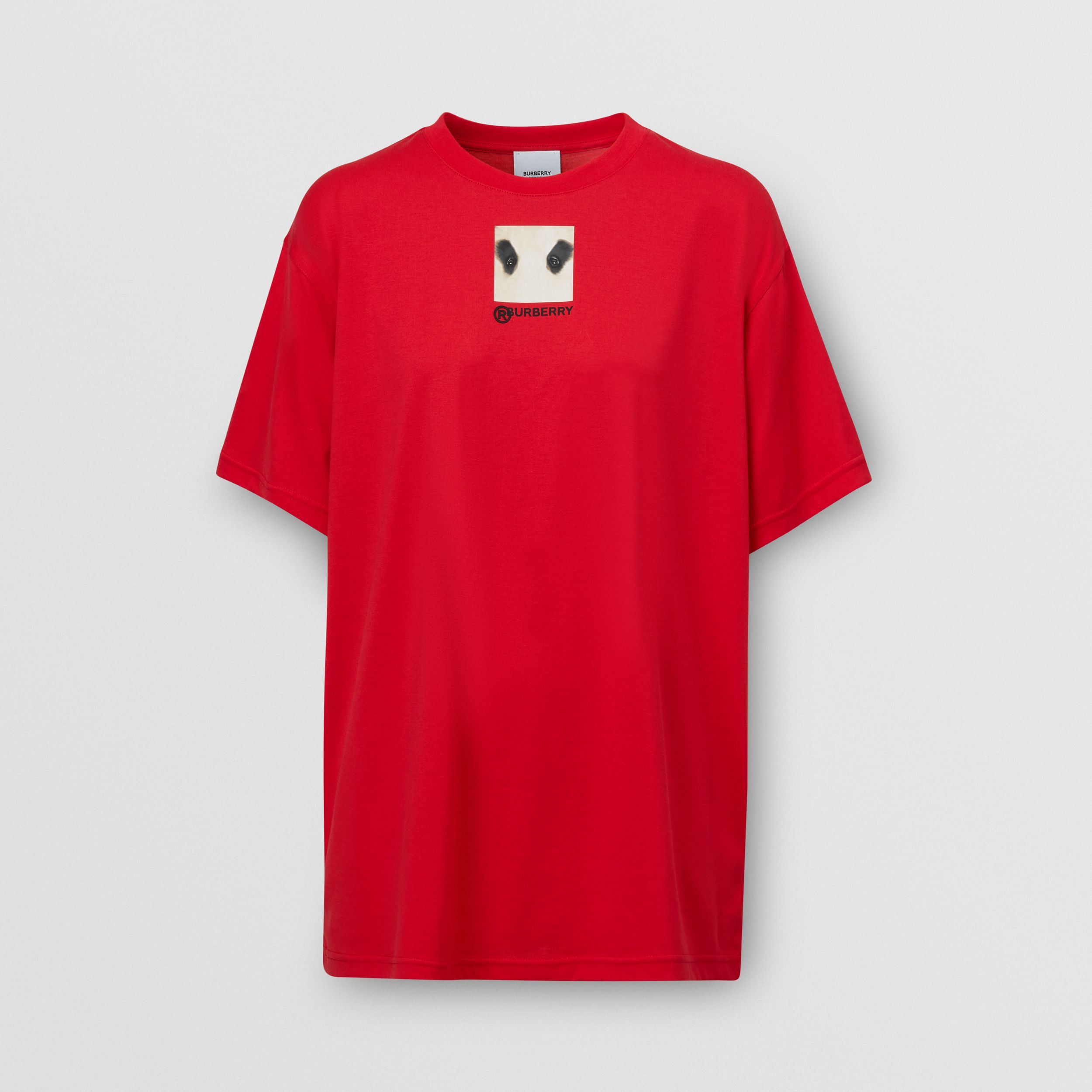 Montage Print Cotton Oversized T-shirt in Bright Red - Women | Burberry - 4