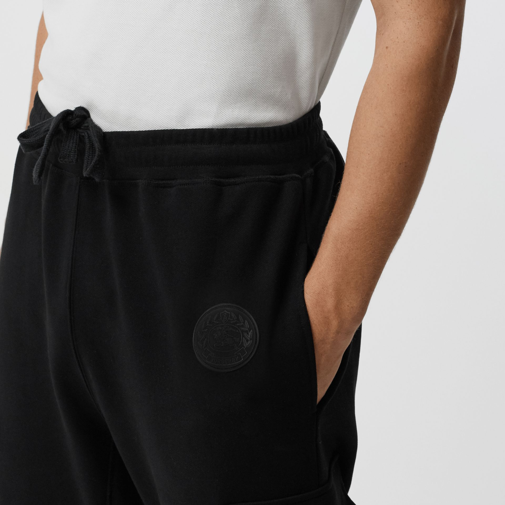 Pocket Detail Cotton Jersey Trackpants in Black - Men | Burberry - gallery image 1
